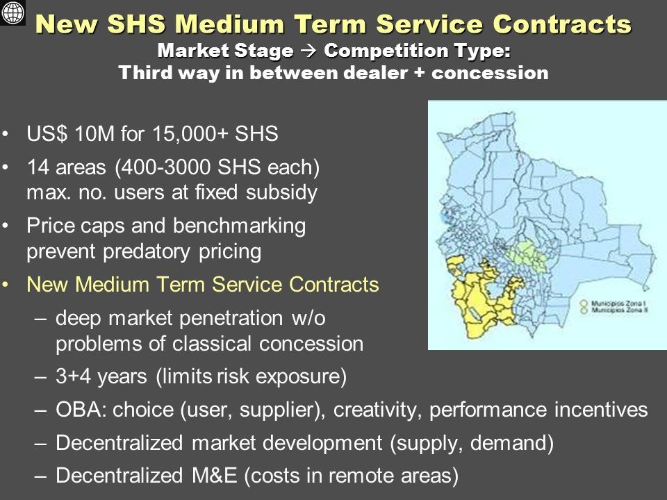 New SHS Medium Term Service Contracts Market Stage  Competition Type: New SHS Medium Term Service Contracts Market Stage  Competition Type: Third way in between dealer + concession US$ 10M for 15,000+ SHS 14 areas (400-3000 SHS each) max.