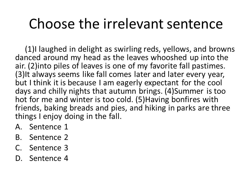 Choose the irrelevant sentence (1)I laughed in delight as swirling reds, yellows, and browns danced around my head as the leaves whooshed up into the air.