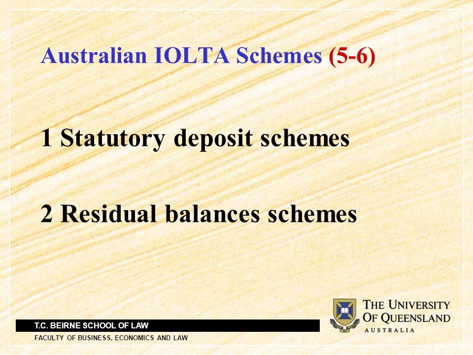 T.C. BEIRNE SCHOOL OF LAW FACULTY OF BUSINESS, ECONOMICS AND LAW Australian IOLTA Schemes (5-6) 1 Statutory deposit schemes 2 Residual balances scheme