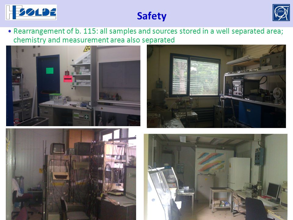 Safety Rearrangement of b. 115: all samples and sources stored in a well separated area; chemistry and measurement area also separated