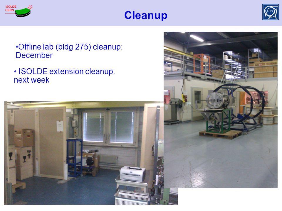 Cleanup Offline lab (bldg 275) cleanup: December ISOLDE extension cleanup: next week