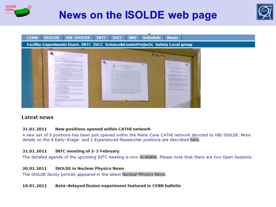 News on the ISOLDE web page
