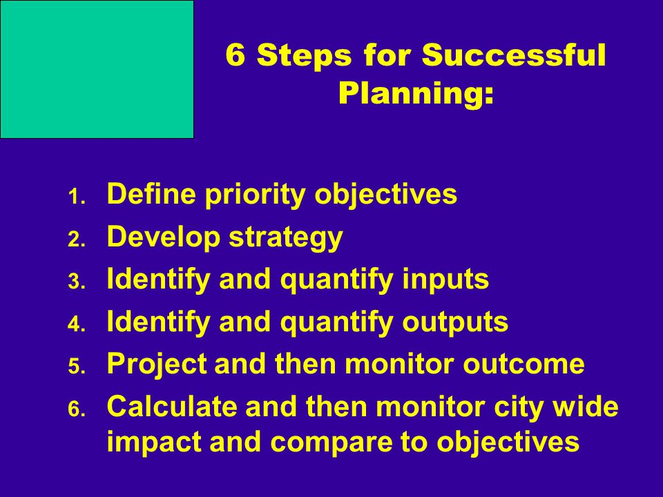 6 Steps for Successful Planning: 1. Define priority objectives 2. Develop strategy 3. Identify and quantify inputs 4. Identify and quantify outputs 5.