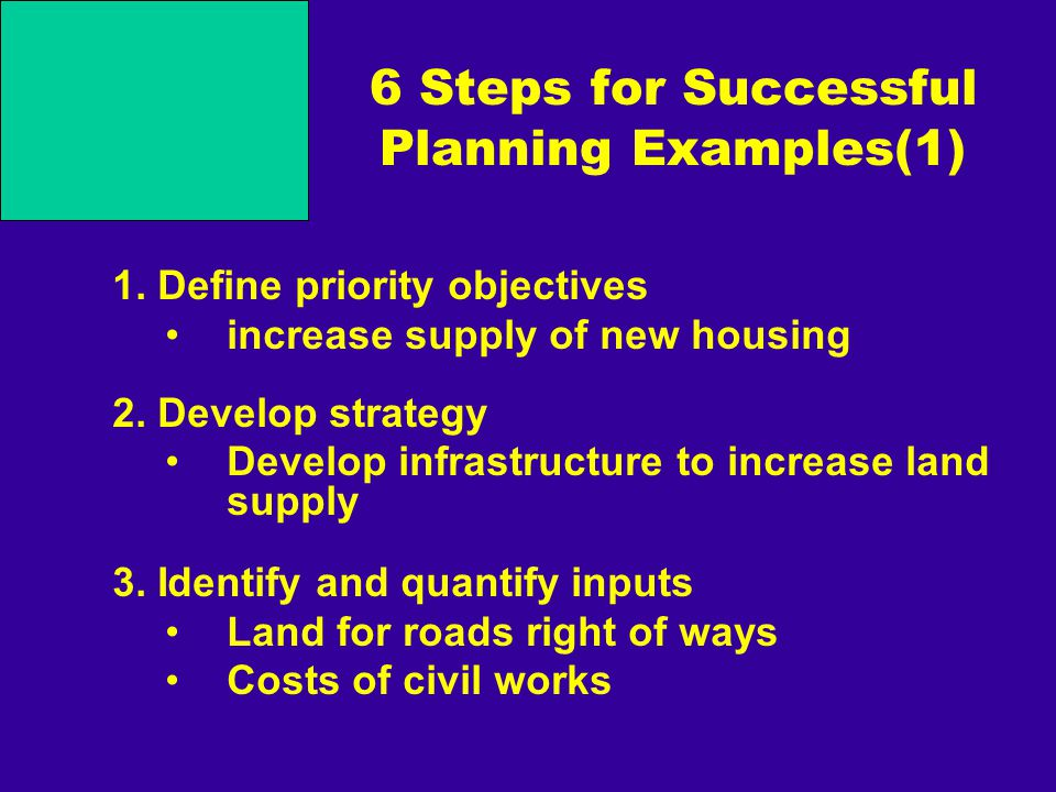 6 Steps for Successful Planning Examples(1) 1. Define priority objectives increase supply of new housing 2. Develop strategy Develop infrastructure to