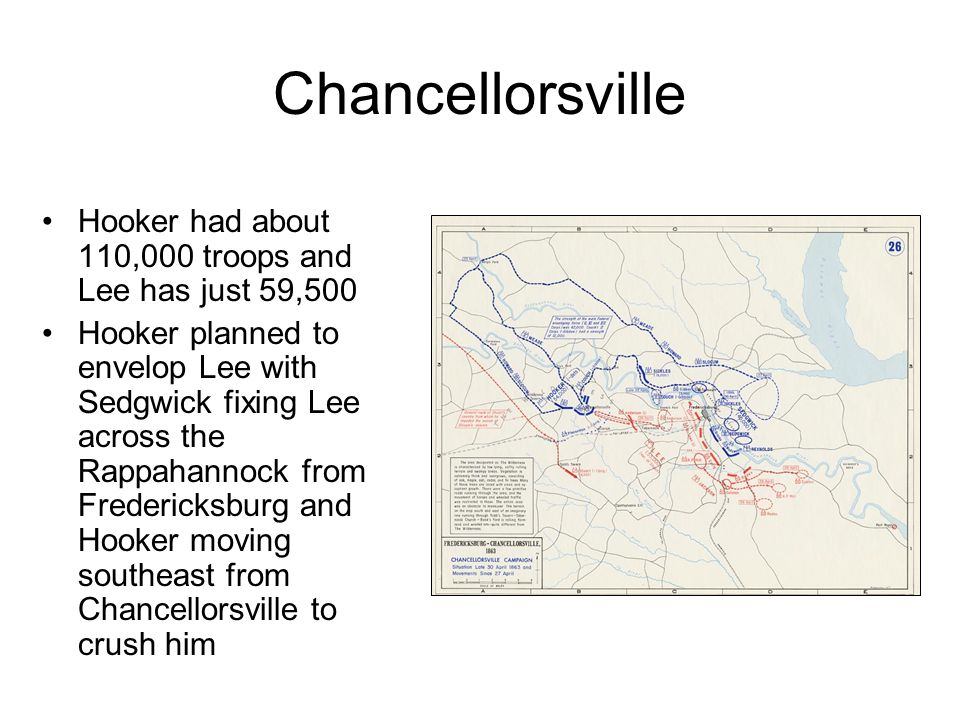 Chancellorsville Hooker had about 110,000 troops and Lee has just 59,500 Hooker planned to envelop Lee with Sedgwick fixing Lee across the Rappahannock from Fredericksburg and Hooker moving southeast from Chancellorsville to crush him