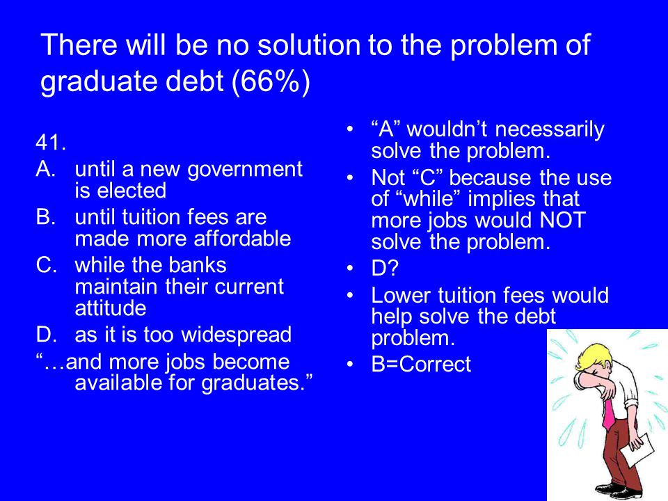 There will be no solution to the problem of graduate debt (66%) 41. A.until a new government is elected B.until tuition fees are made more affordable