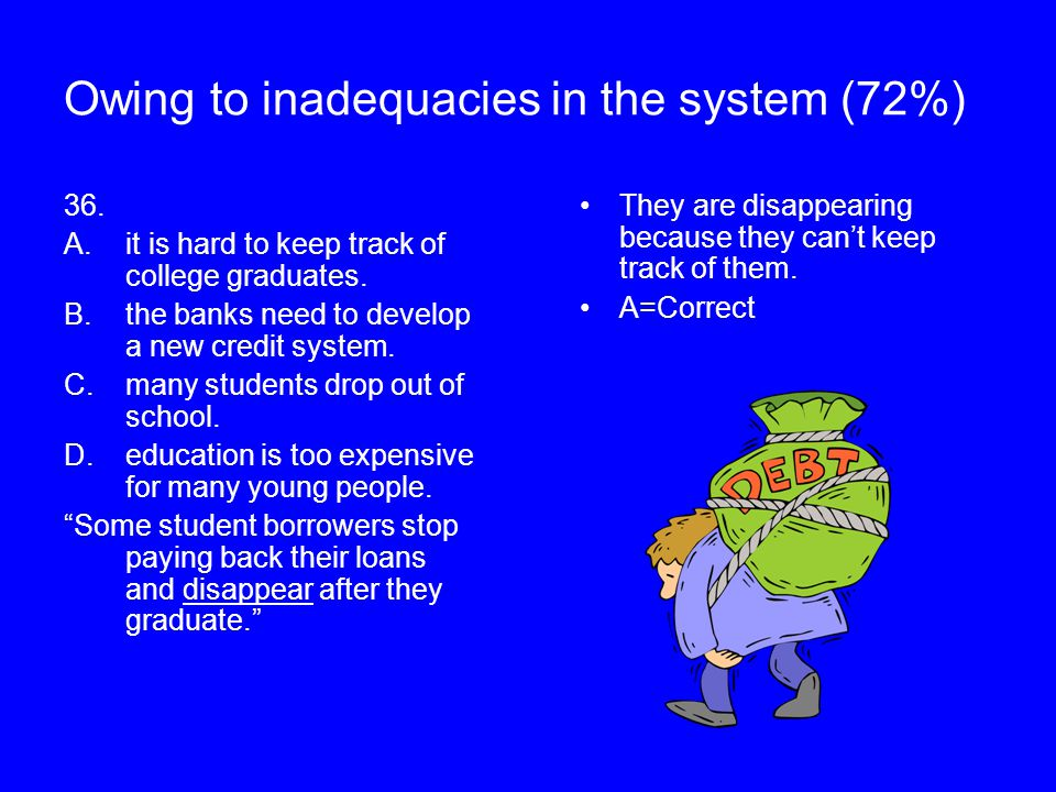 Owing to inadequacies in the system (72%) 36. A.it is hard to keep track of college graduates. B.the banks need to develop a new credit system. C.many