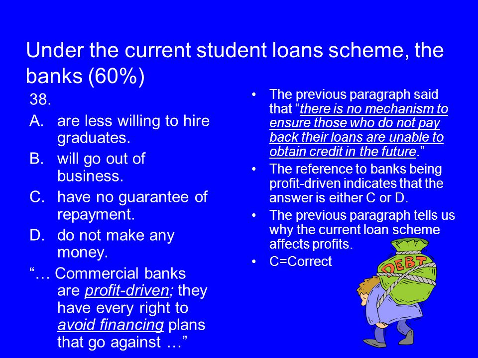 Under the current student loans scheme, the banks (60%) 38. A.are less willing to hire graduates. B.will go out of business. C.have no guarantee of re