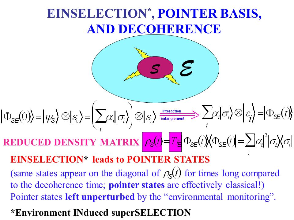 REDUCED DENSITY MATRIX S E EINSELECTION *, POINTER BASIS, AND DECOHERENCE EINSELECTION* leads to POINTER STATES (same states appear on the diagonal of