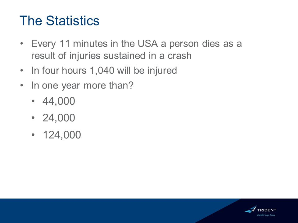 The Statistics Every 11 minutes in the USA a person dies as a result of injuries sustained in a crash In four hours 1,040 will be injured In one year more than.