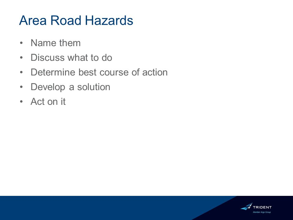 Area Road Hazards Name them Discuss what to do Determine best course of action Develop a solution Act on it