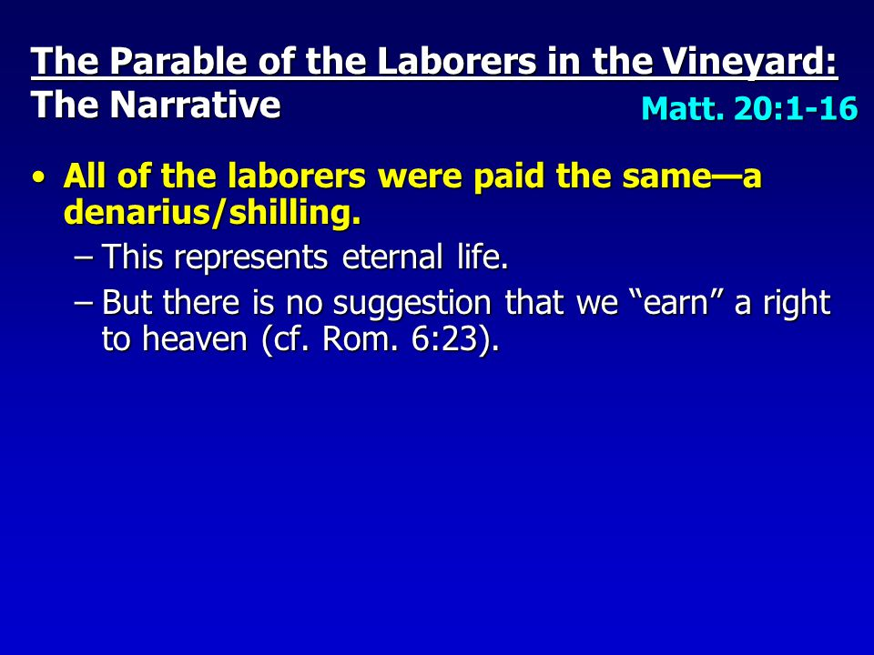 The landowner rewarded the laborers/ workers consistent with his will, in spite of the murmuring of others.The landowner rewarded the laborers/ workers consistent with his will, in spite of the murmuring of others.
