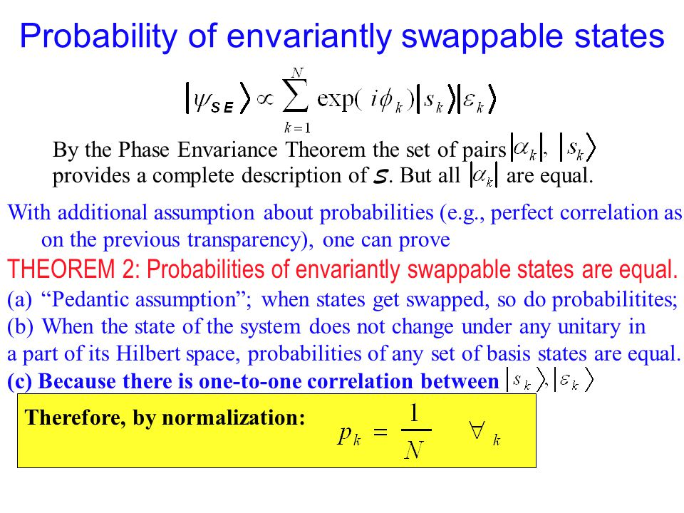 Probability of envariantly swappable states By the Phase Envariance Theorem the set of pairs provides a complete description of S. But all are equal.