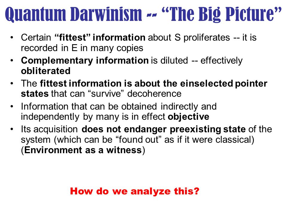 "Quantum Darwinism -- ""The Big Picture"" Certain ""fittest"" information about S proliferates -- it is recorded in E in many copies Complementary informat"