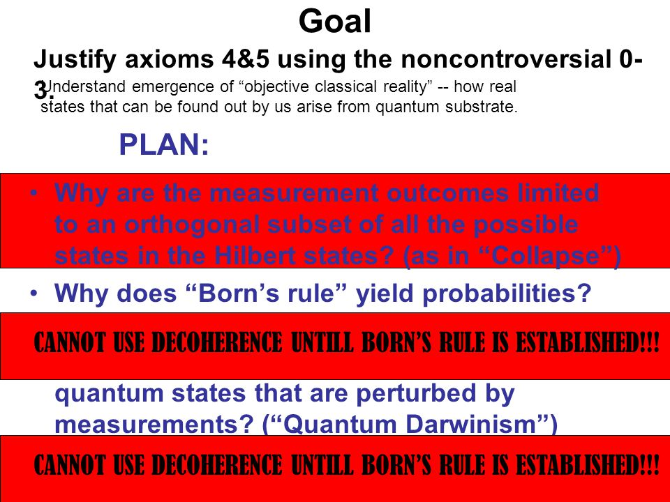 Quantum Darwinism -- The Big Picture Certain fittest information about S proliferates -- it is recorded in E in many copies Complementary information is diluted -- effectively obliterated The fittest information is about the einselected pointer states that can survive decoherence Information that can be obtained indirectly and independently by many is in effect objective Its acquisition does not endanger preexisting state of the system (which can be found out as if it were classical) (Environment as a witness) How do we analyze this?