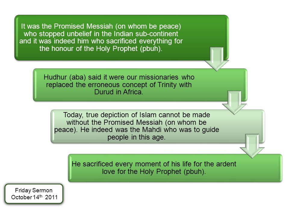 It was the Promised Messiah (on whom be peace) who stopped unbelief in the Indian sub-continent and it was indeed him who sacrificed everything for th