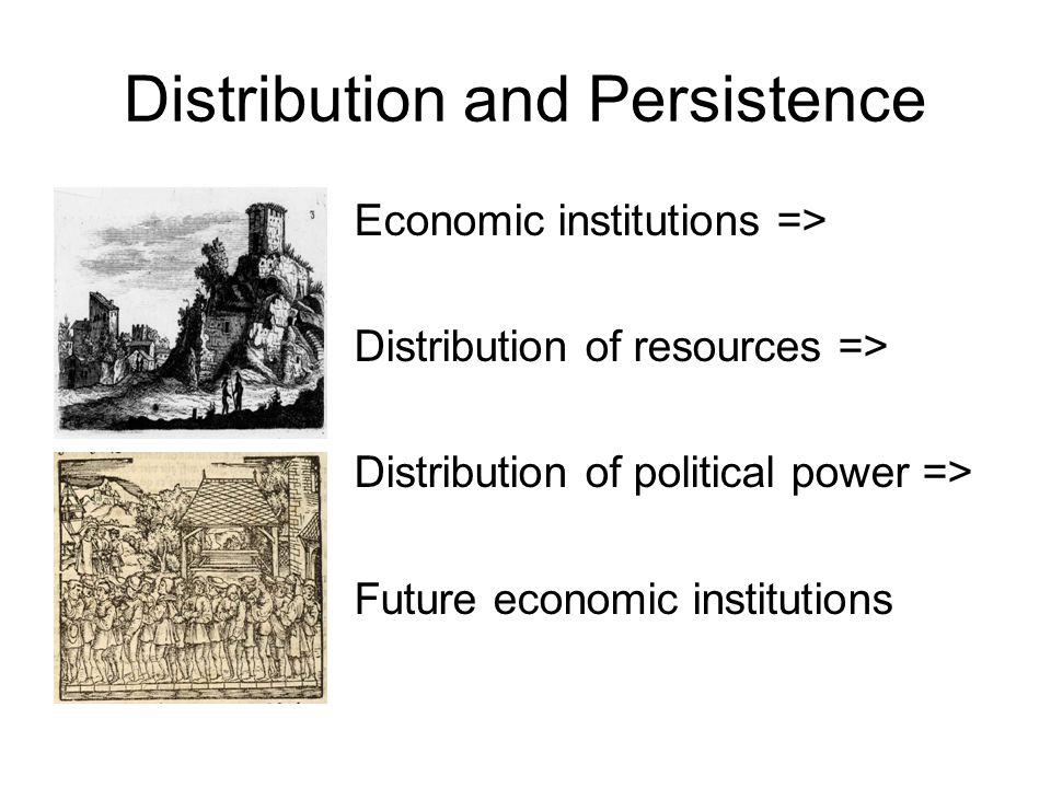 Distribution and Persistence Economic institutions => Distribution of resources => Distribution of political power => Future economic institutions