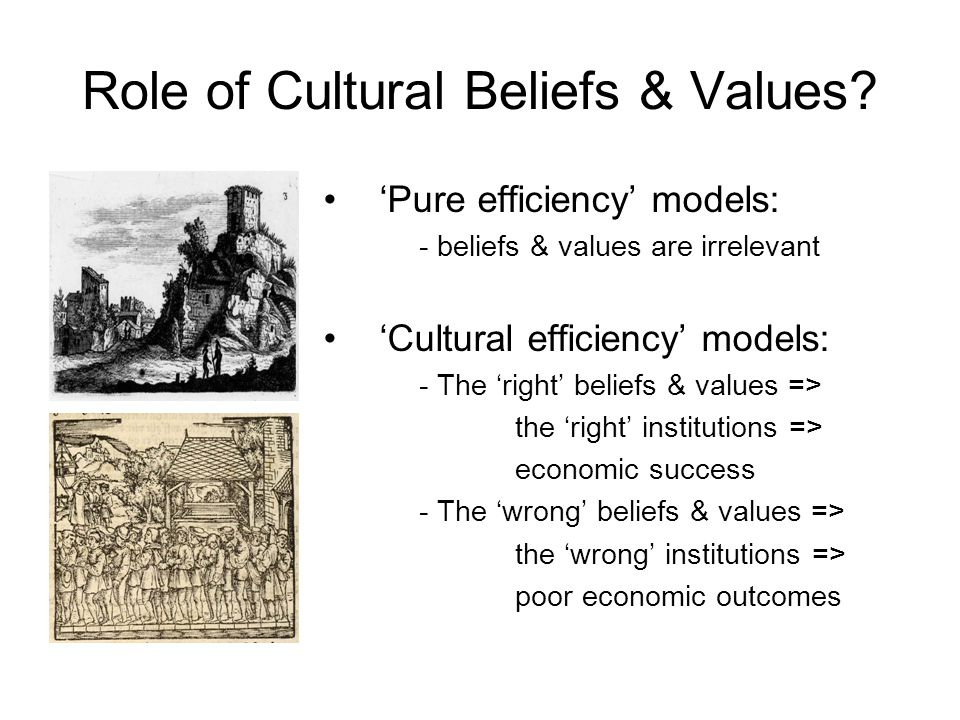Role of Cultural Beliefs & Values? 'Pure efficiency' models: - beliefs & values are irrelevant 'Cultural efficiency' models: - The 'right' beliefs & v