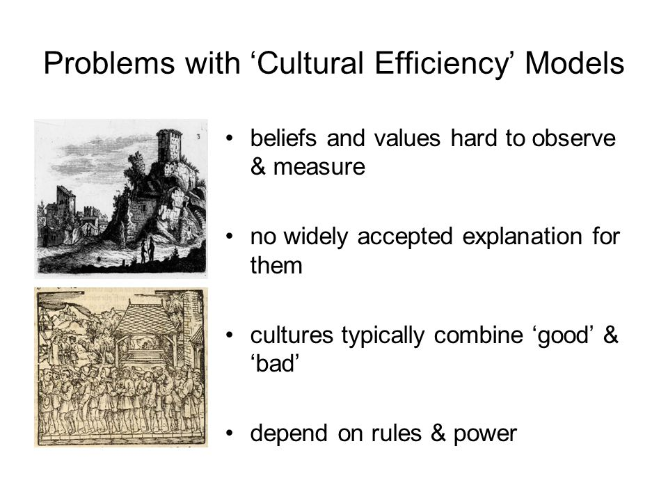 Problems with 'Cultural Efficiency' Models beliefs and values hard to observe & measure no widely accepted explanation for them cultures typically combine 'good' & 'bad' depend on rules & power