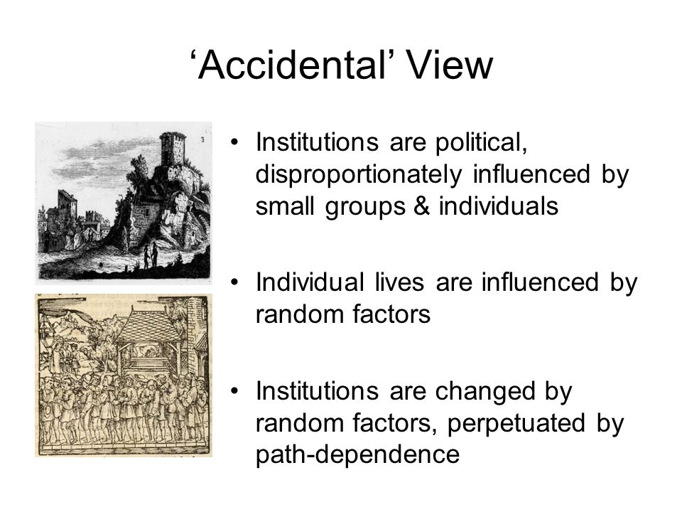 'Accidental' View Institutions are political, disproportionately influenced by small groups & individuals Individual lives are influenced by random fa