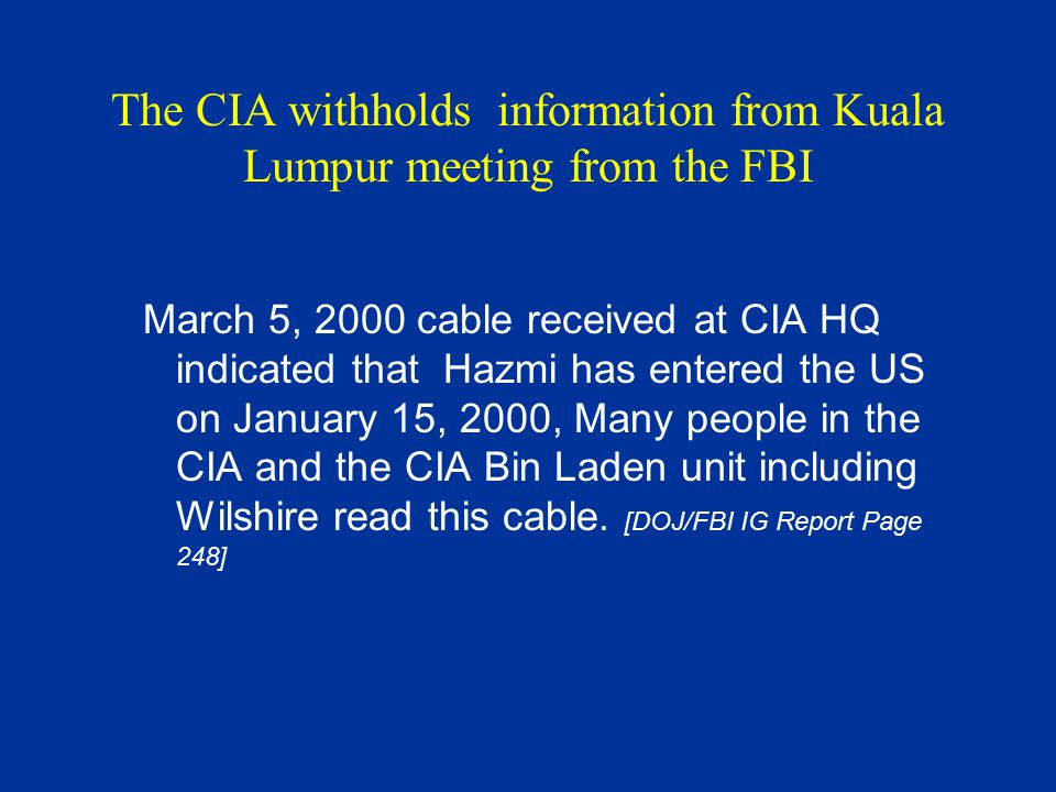 The CIA withholds information from Kuala Lumpur meeting from the FBI March 5, 2000 cable received at CIA HQ indicated that Hazmi has entered the US on