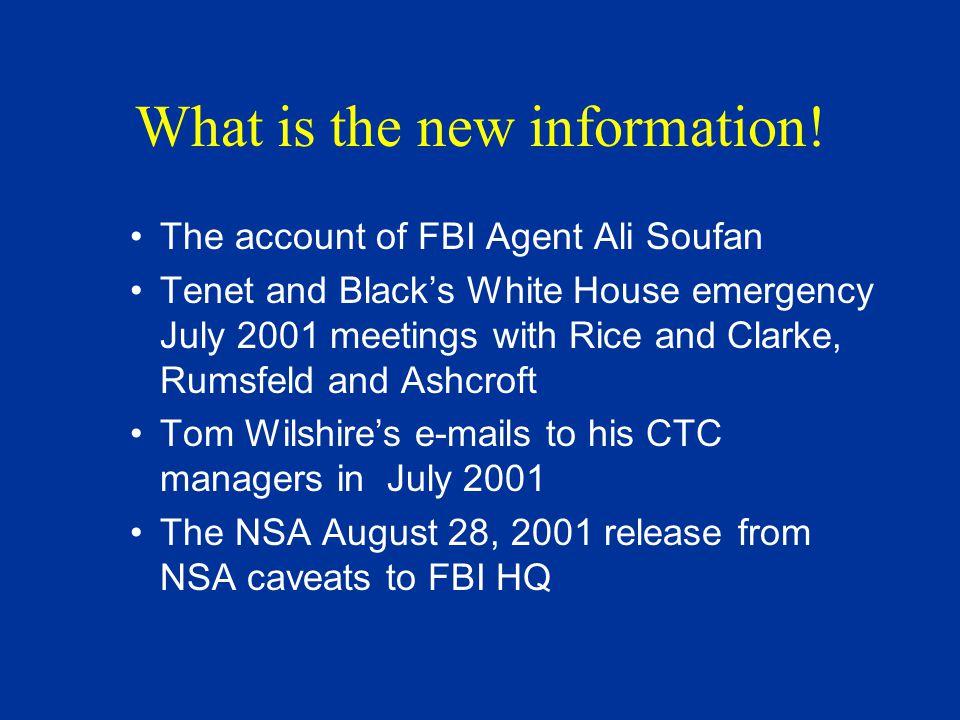 Key People Ali Soufan - lead FBI investigator on Cole bombing Steve Bongardt – FBI agent NY, Soufan's assistant Dina Corsi, FBI IOS at FBI Bin Laden unit Margaret Gillespie FBI IOS at CIA Bin Laden unit Tom Wilshire - deputy chief of CIA Bin Laden Clark Shannon- CIA officer at Bin Laden unit