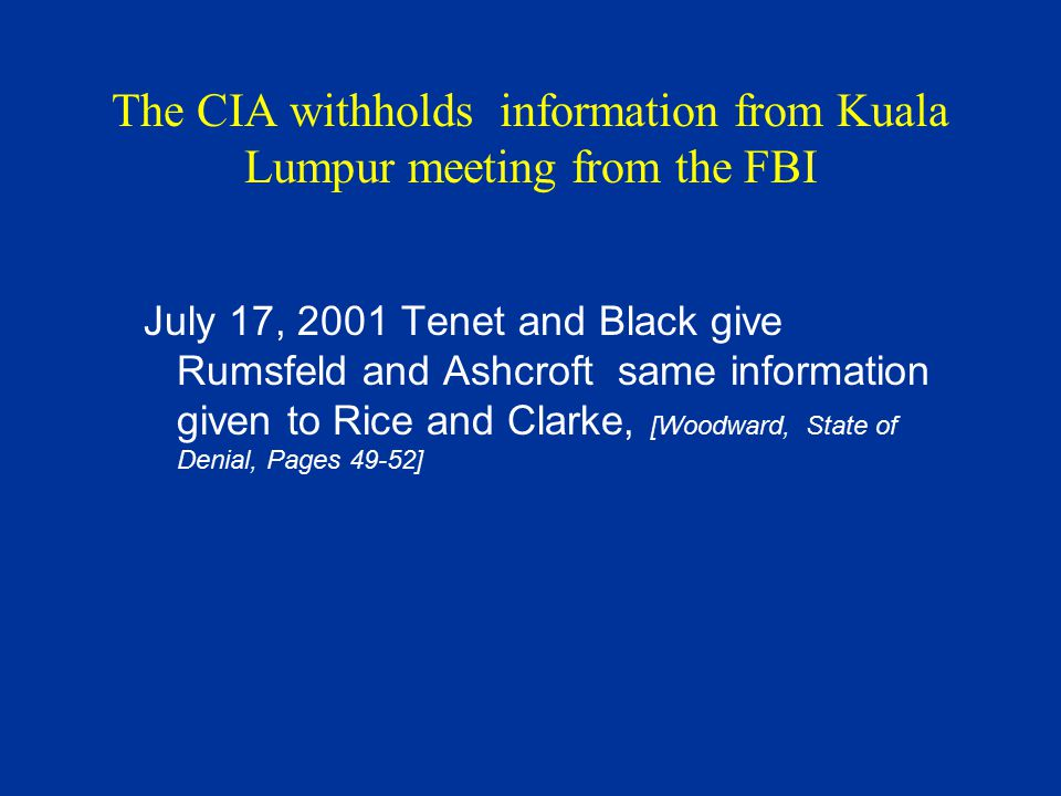 The CIA withholds information from Kuala Lumpur meeting from the FBI July 17, 2001 Tenet and Black give Rumsfeld and Ashcroft same information given t