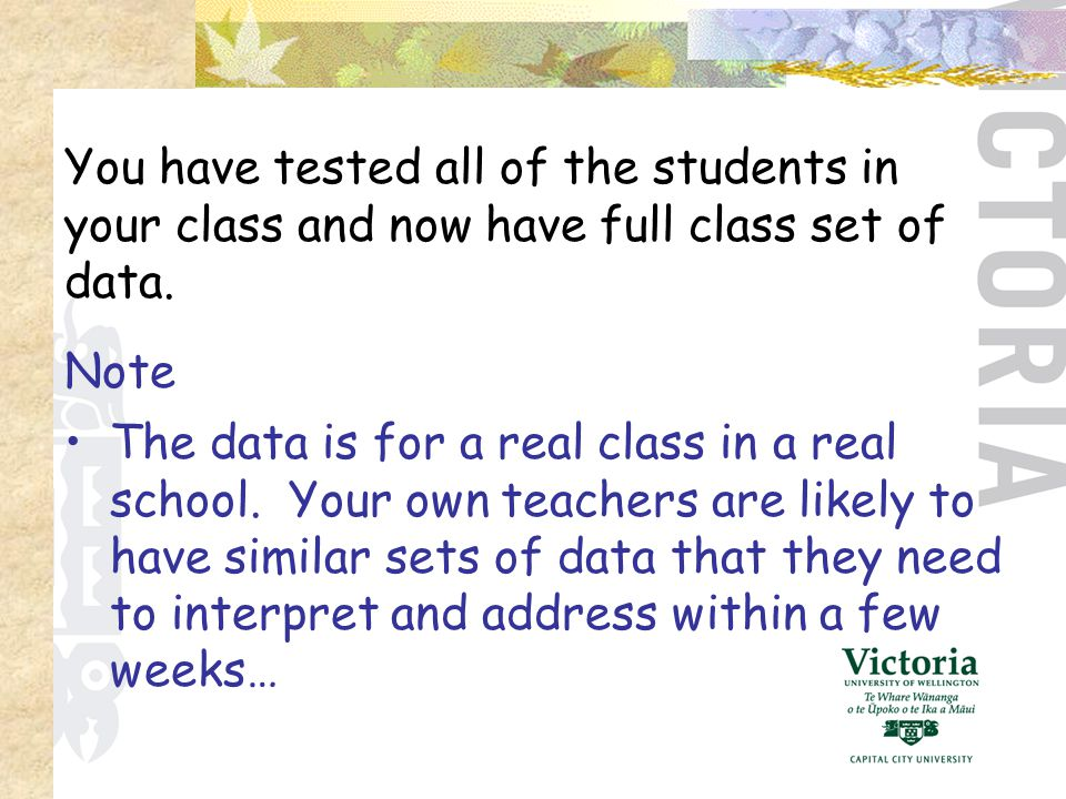 The data is for a real class in a real school.