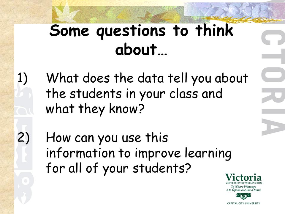 1)What does the data tell you about the students in your class and what they know.