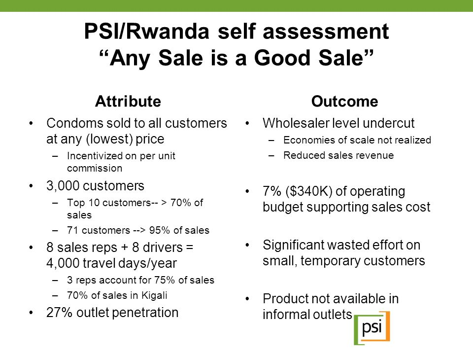 """PSI/Rwanda self assessment """"Any Sale is a Good Sale"""" Attribute Condoms sold to all customers at any (lowest) price –Incentivized on per unit commissio"""