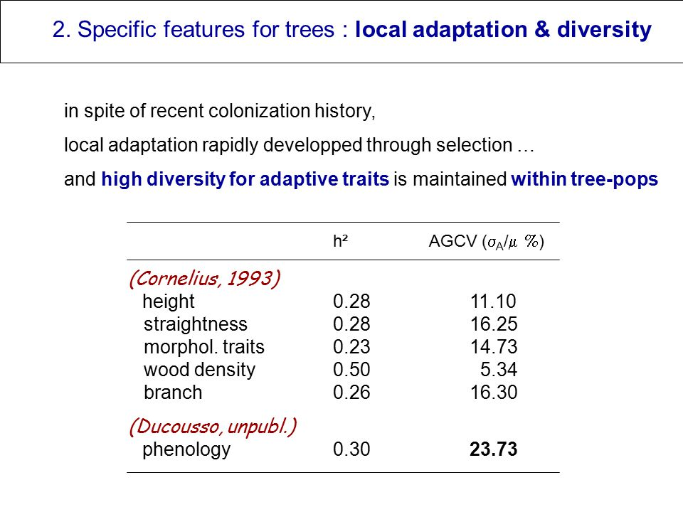 2. Specific features for trees : local adaptation & diversity in spite of recent colonization history, local adaptation rapidly developped through sel