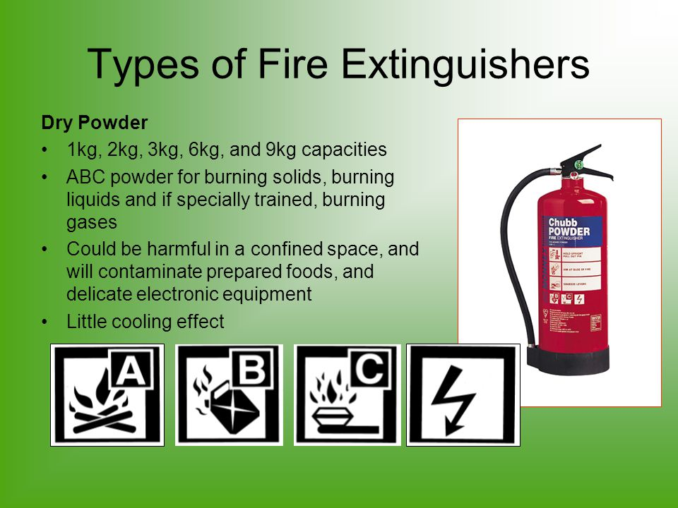 Types of Fire Extinguishers Dry Powder 1kg, 2kg, 3kg, 6kg, and 9kg capacities ABC powder for burning solids, burning liquids and if specially trained,