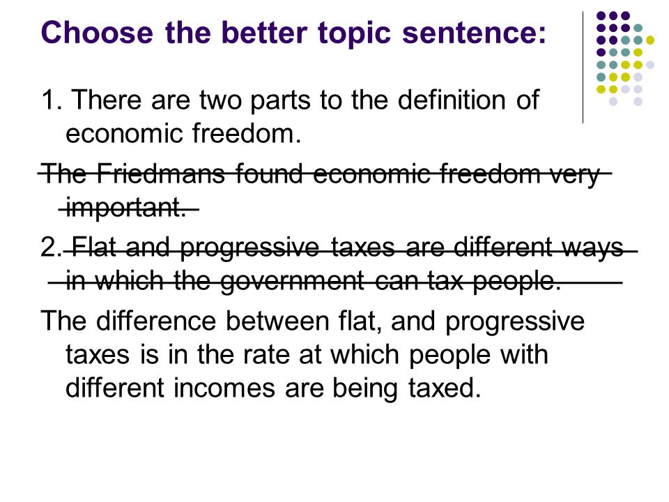 Choose the better topic sentence: 1. There are two parts to the definition of economic freedom.