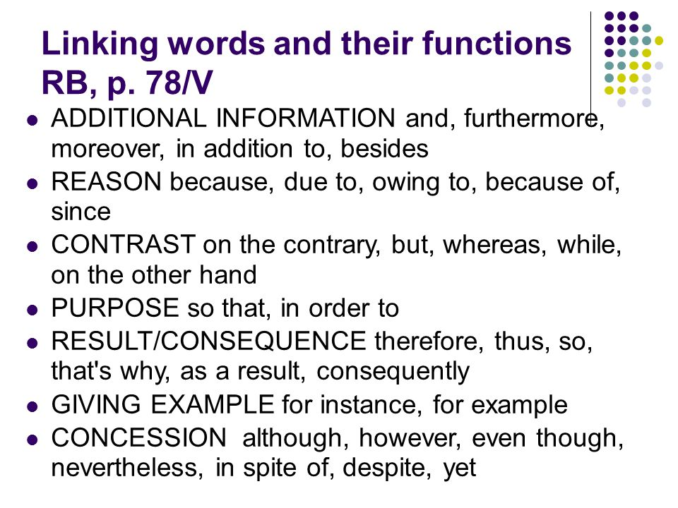 Linking words and their functions RB, p.