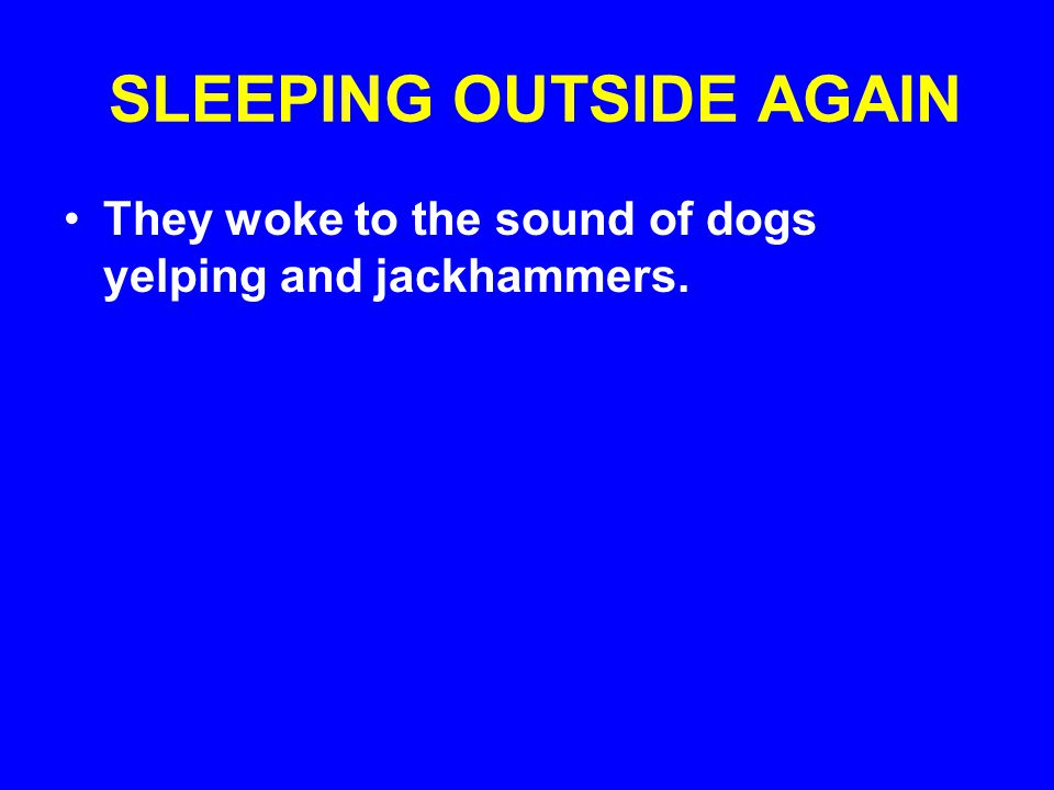 SLEEPING OUTSIDE AGAIN They woke to the sound of dogs yelping and jackhammers.