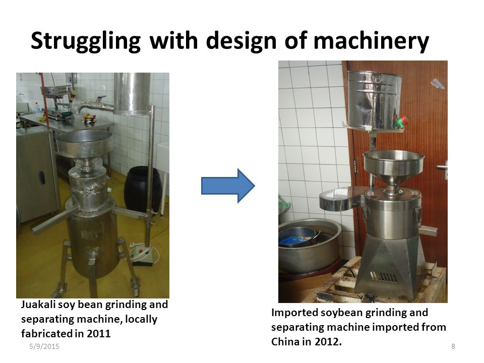 Struggling with design of machinery Juakali soy bean grinding and separating machine, locally fabricated in 2011 Imported soybean grinding and separat