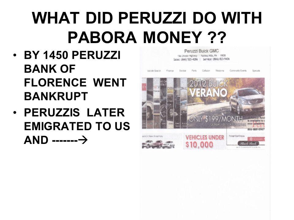 WHAT DID PERUZZI DO WITH PABORA MONEY .