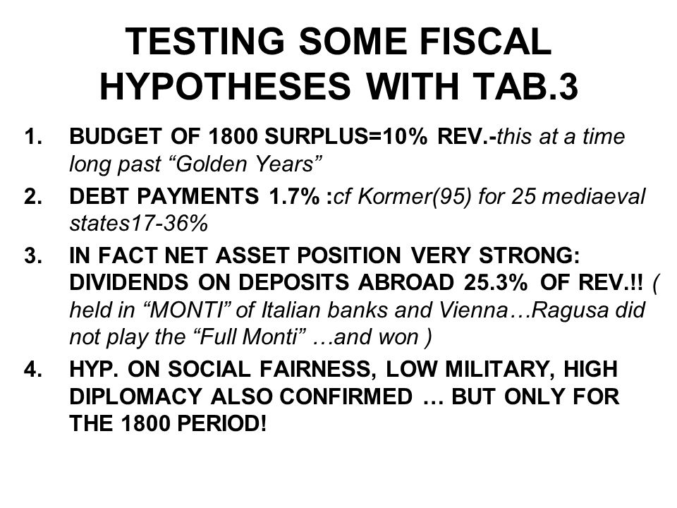 TESTING SOME FISCAL HYPOTHESES WITH TAB.3 1.BUDGET OF 1800 SURPLUS=10% REV.-this at a time long past Golden Years 2.DEBT PAYMENTS 1.7% :cf Kormer(95) for 25 mediaeval states17-36% 3.IN FACT NET ASSET POSITION VERY STRONG: DIVIDENDS ON DEPOSITS ABROAD 25.3% OF REV.!.