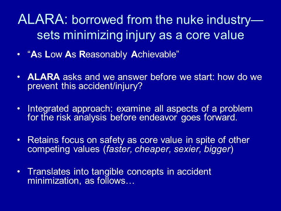 "ALARA: borrowed from the nuke industry— sets minimizing injury as a core value ""As Low As Reasonably Achievable"" ALARA asks and we answer before we st"