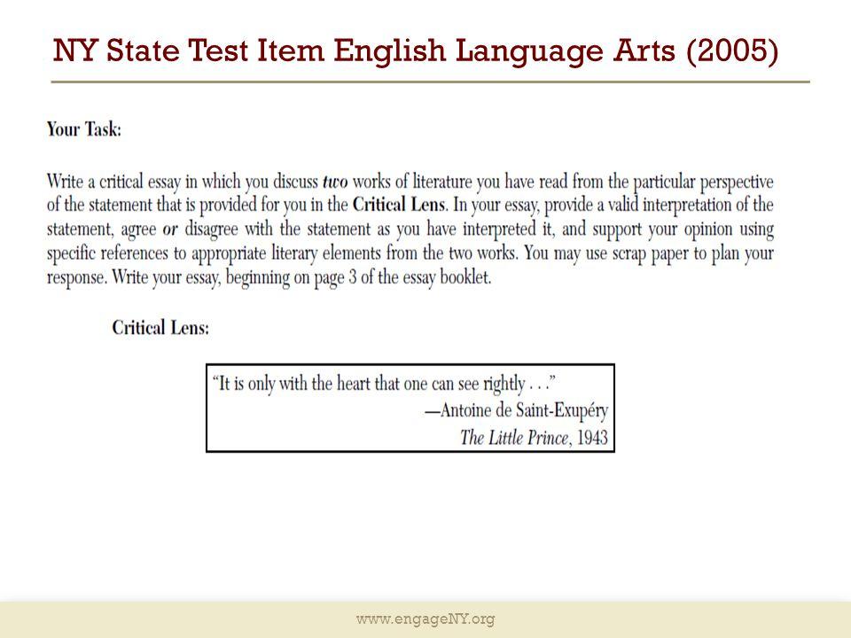 www.engageNY.org NY State Test Item English Language Arts (2005)