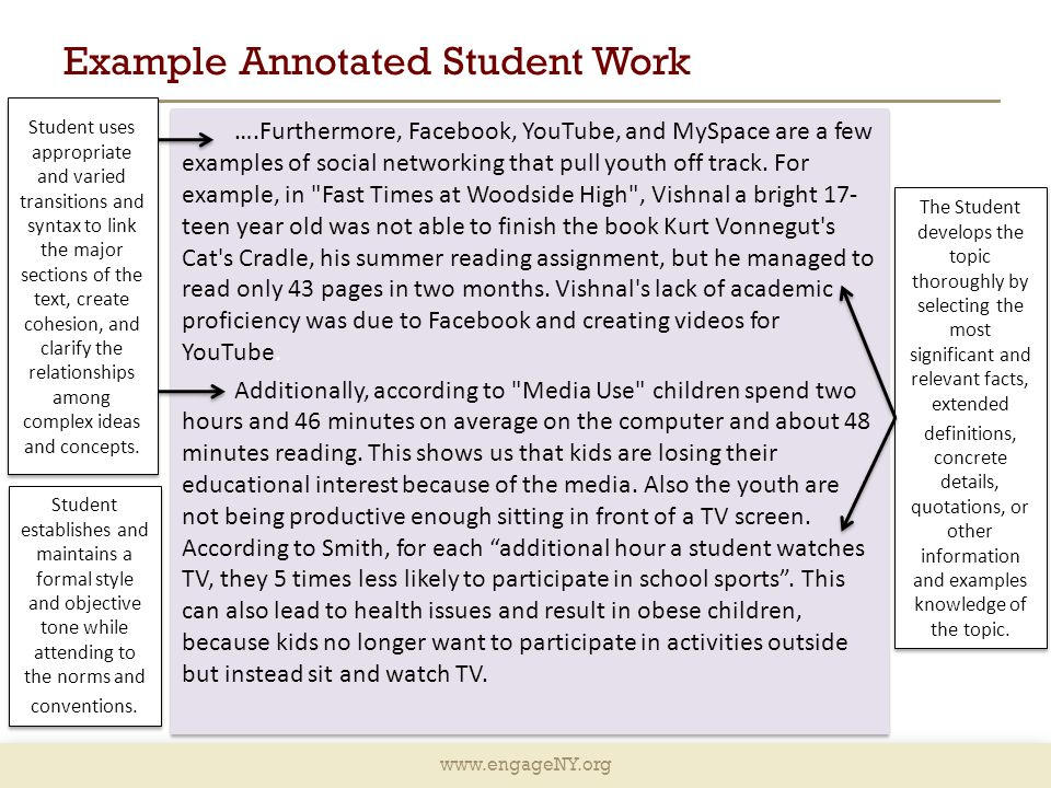 www.engageNY.org Example Annotated Student Work ….Furthermore, Facebook, YouTube, and MySpace are a few examples of social networking that pull youth