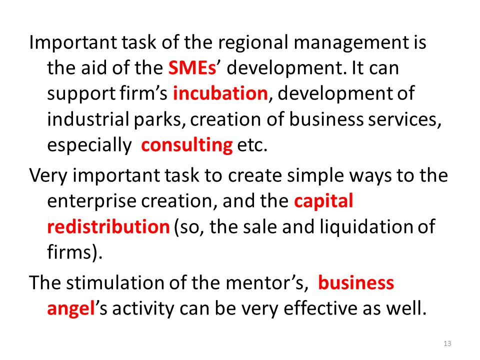 Important task of the regional management is the aid of the SMEs' development. It can support firm's incubation, development of industrial parks, crea