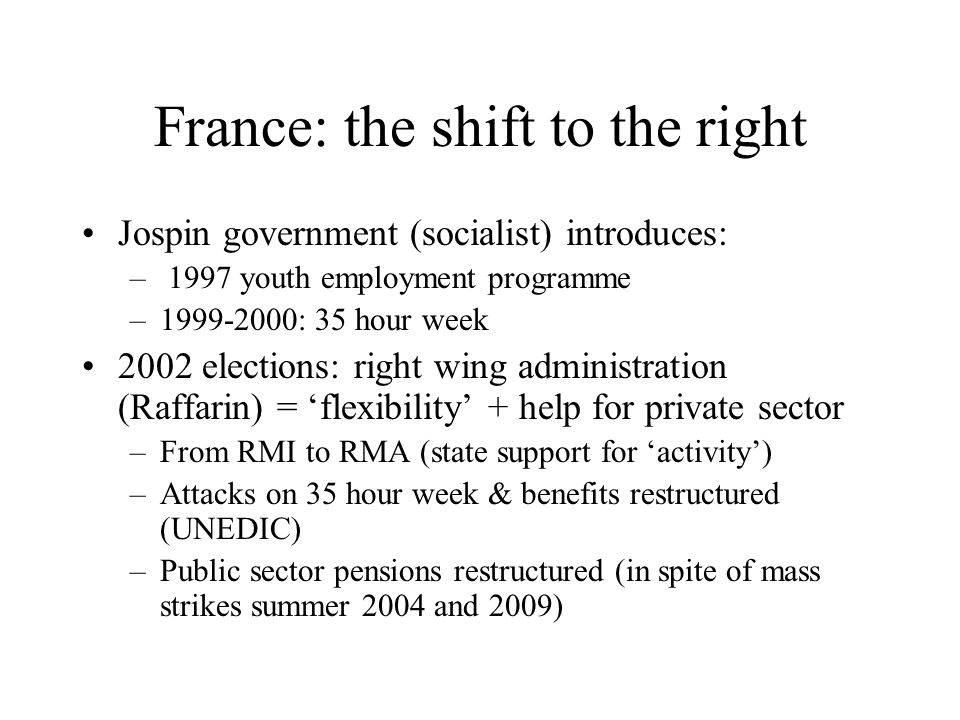 France: the shift to the right Jospin government (socialist) introduces: – 1997 youth employment programme –1999-2000: 35 hour week 2002 elections: ri