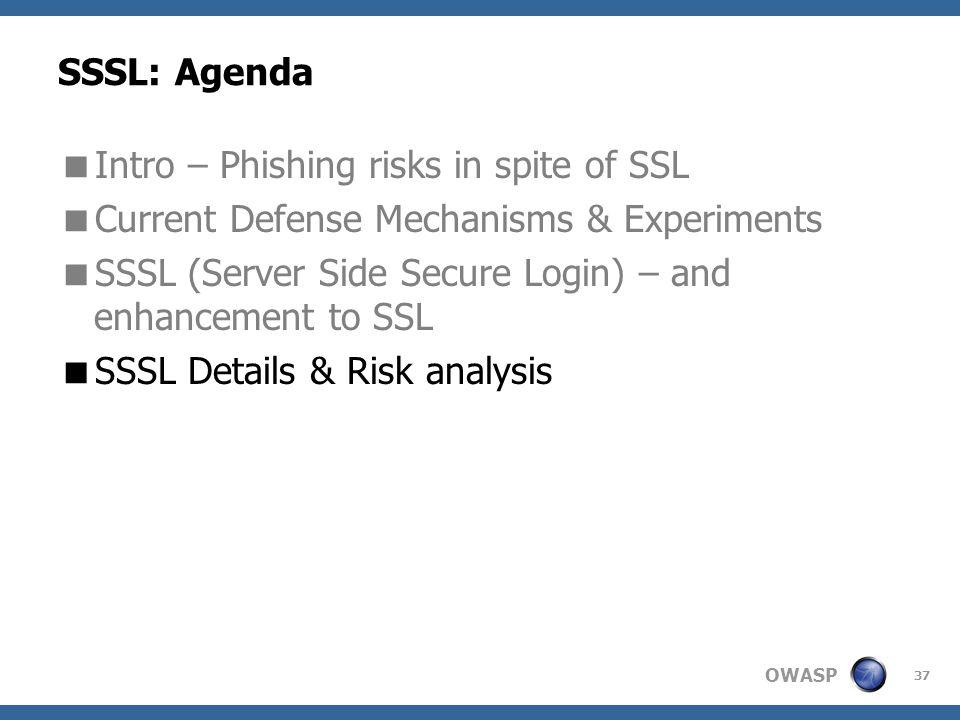 OWASP 37 SSSL: Agenda  Intro – Phishing risks in spite of SSL  Current Defense Mechanisms & Experiments  SSSL (Server Side Secure Login) – and enhancement to SSL  SSSL Details & Risk analysis