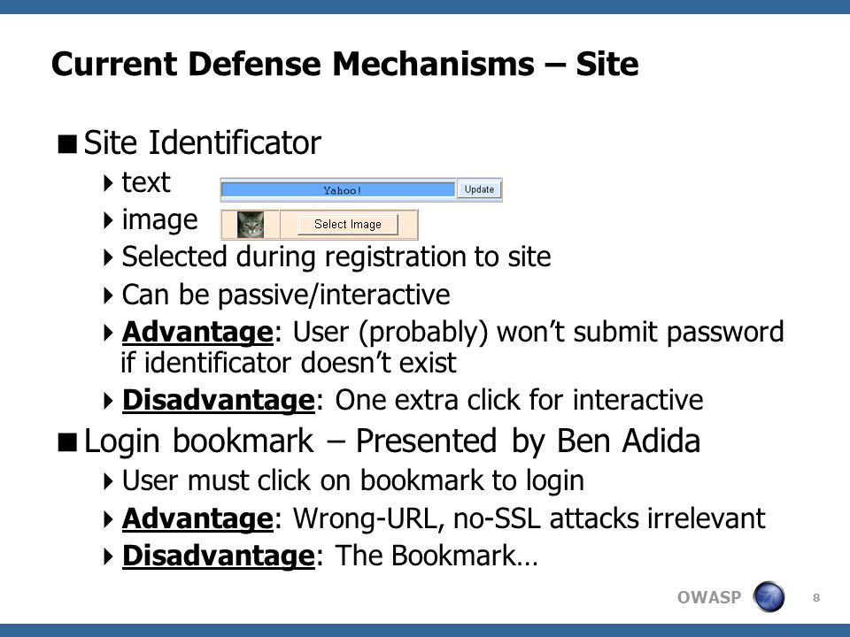 OWASP 49 Resistance to Specific Attacks (cont.)  Overriding Page Unload  window.onuload = function(){ window.location = 'https://evil.com/stay-here'; }  token remains secret since window.location yields current site  Alice doesn't see her username automatically filled in, and doesn't see her custom image  password remains secret