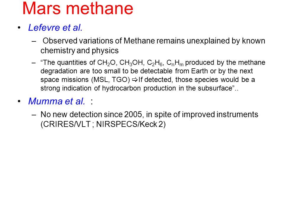 Mars methane Lefevre et al.