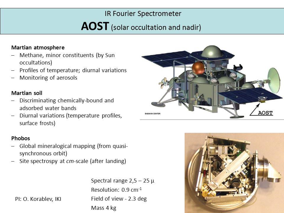 Spectral range 2,5 – 25 μ Resolution: 0.9 cm -1 Field of view - 2.3 deg Mass 4 kg PI: O.