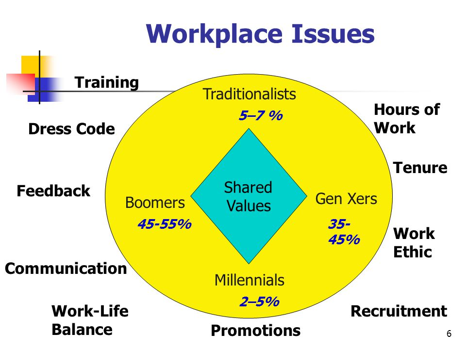 6 Workplace Issues Shared Values Traditionalists Millennials Boomers Gen Xers Work-Life Balance Hours of Work Training Feedback Work Ethic Promotions