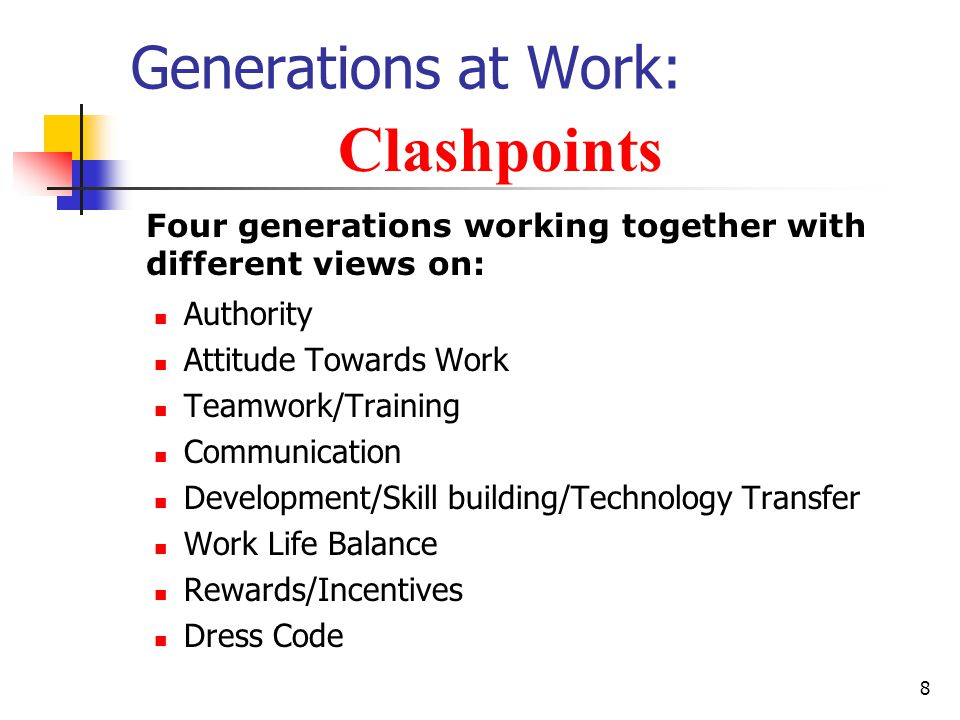 8 Generations at Work: Authority Attitude Towards Work Teamwork/Training Communication Development/Skill building/Technology Transfer Work Life Balance Rewards/Incentives Dress Code Clashpoints Four generations working together with different views on: