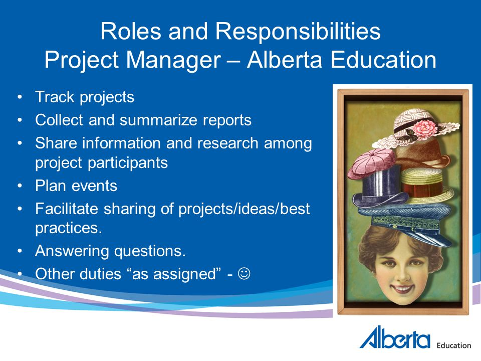 Roles and Responsibilities Project Manager – Alberta Education Track projects Collect and summarize reports Share information and research among proje